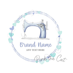 Premade sewing hearts logo design