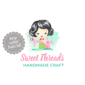 Premade girl sewing with machine logo design