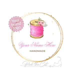 Premade sewing thread logo design