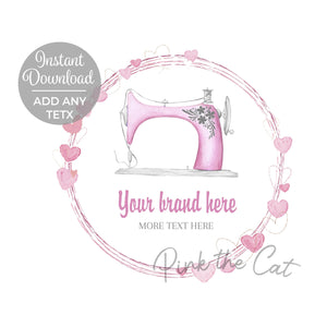 Premade pink sewing machine logo design