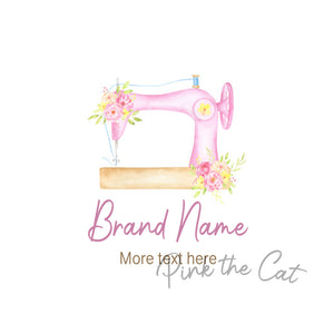 Premade pink sewing logo design