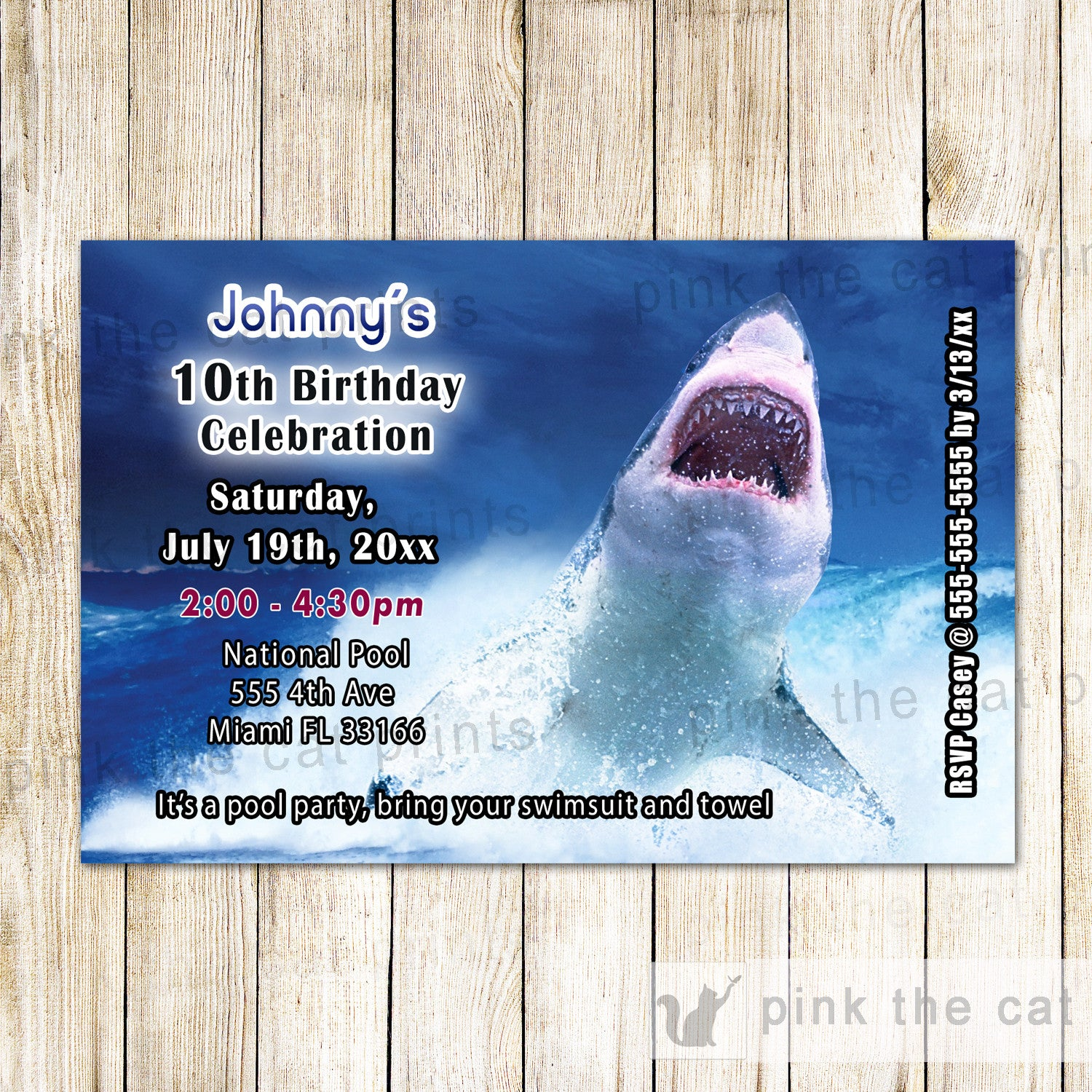 25 printed invitations real ocean shark kids birthday party pink real great white shark invitation real ocean shark invitation kids birthday party filmwisefo