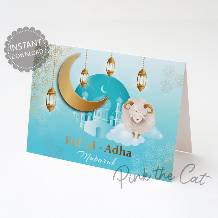 Eid al adha mubarak card cute sheep