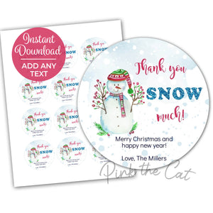 Snowman winter gift label printable
