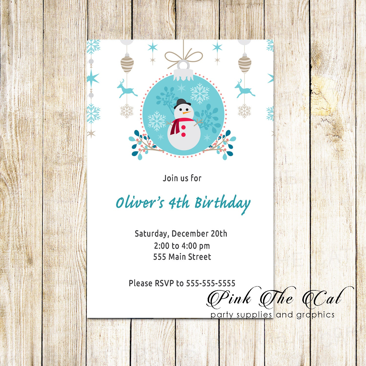 30 Christmas kids birthday party invitation snowman personalized ...