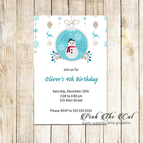 30 Christmas kids birthday party invitation snowman