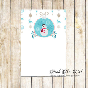 30 cards invitations greeting notes kids christmas snowman