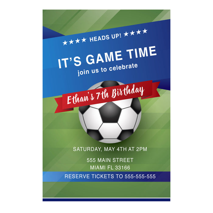 Soccer invitation blue green (set of 30)