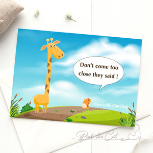 Funny social distancing corona virus animals card ecard printable