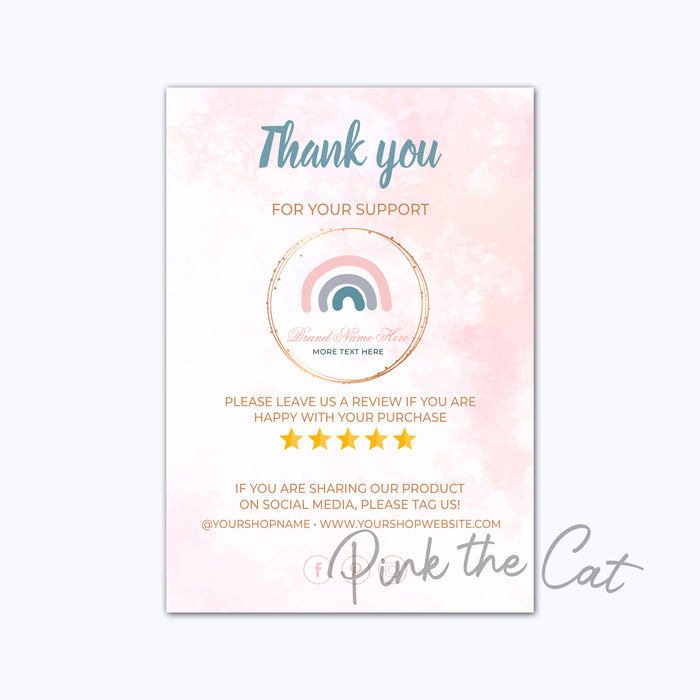 Business thank you card boho rainbow
