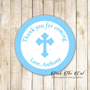 70 stickers blue boy baptism communion 1.5'' personalized