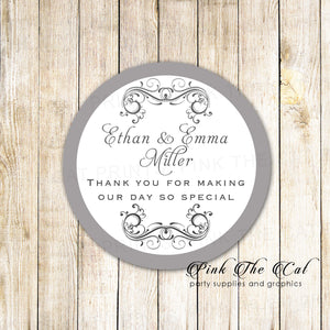 40 stickers wedding silver swirl elegant favor label