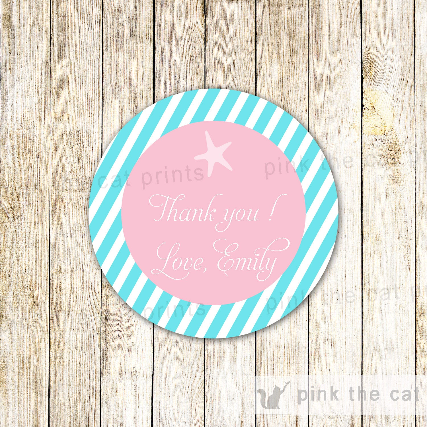 Shark Gift Favor Tag Label Kids Birthday Party Thank You Sticker ...