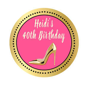70 High heel shoe favor stickers adult birthday personalized