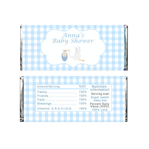 30 Candy bar wrappers blue stork baby shower favors