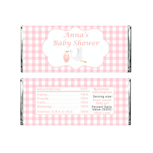 Candy bar wrappers pink stork personalized baby shower favors