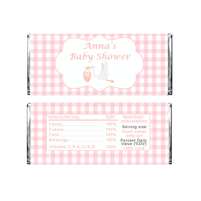 Candy bar wrappers pink stork printable