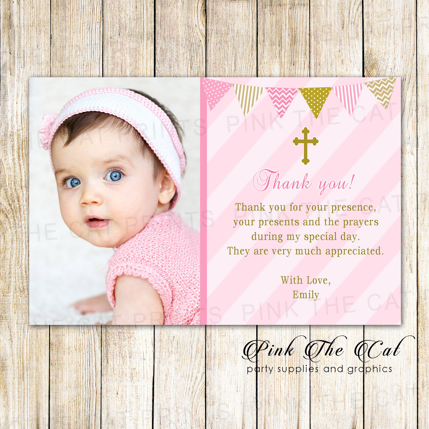 Pink Gold Baptism Christening Thank You Note Printable Pink The Cat