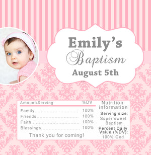 Candy wrapper girl baptism photo pink printable
