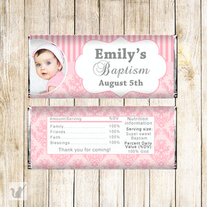 30 Candy bar wrappers girl baptism christening stickers pink