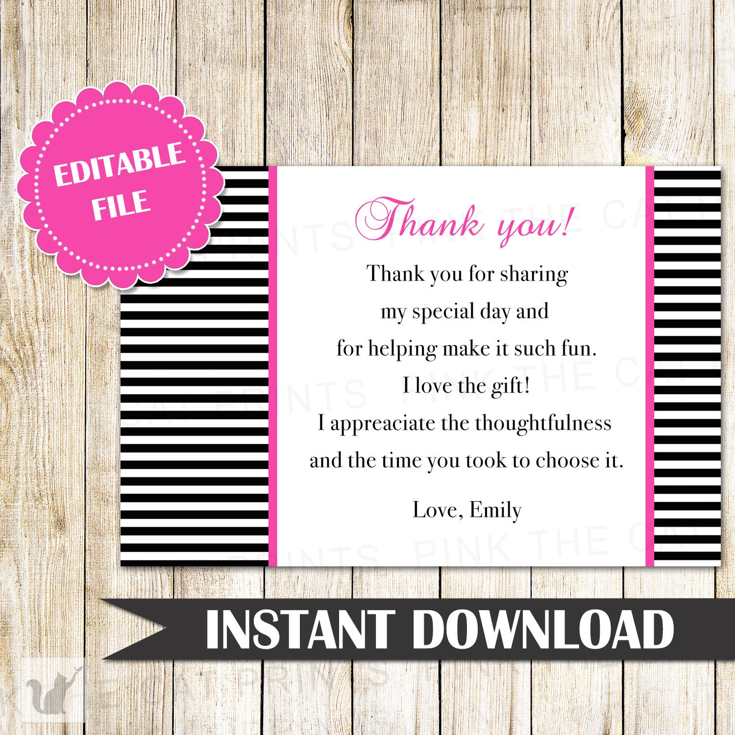 black white stripes thank you card note bridal shower birthday