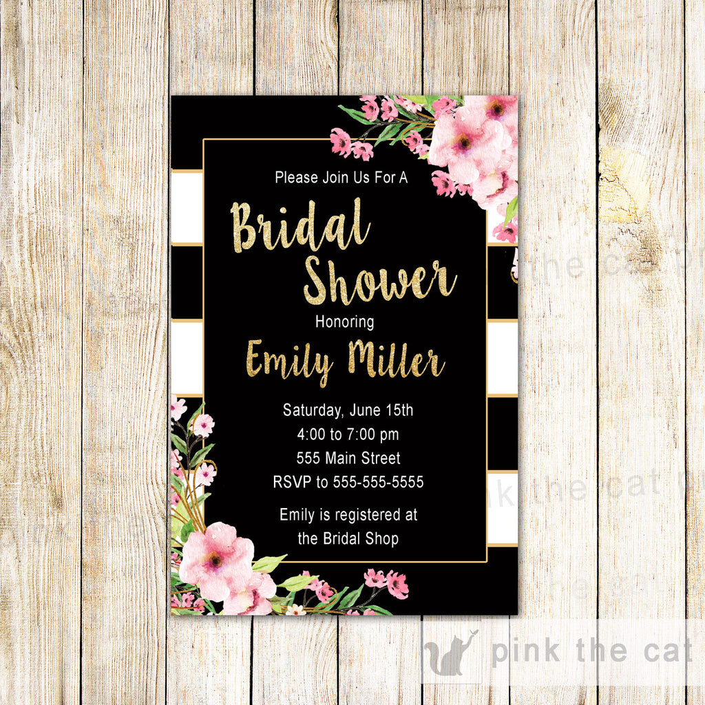 Bridal Shower Invitation Boho Flowers Glitter Gold Pink