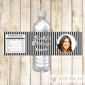 Bottle Labels Black White Adult Birthday Party