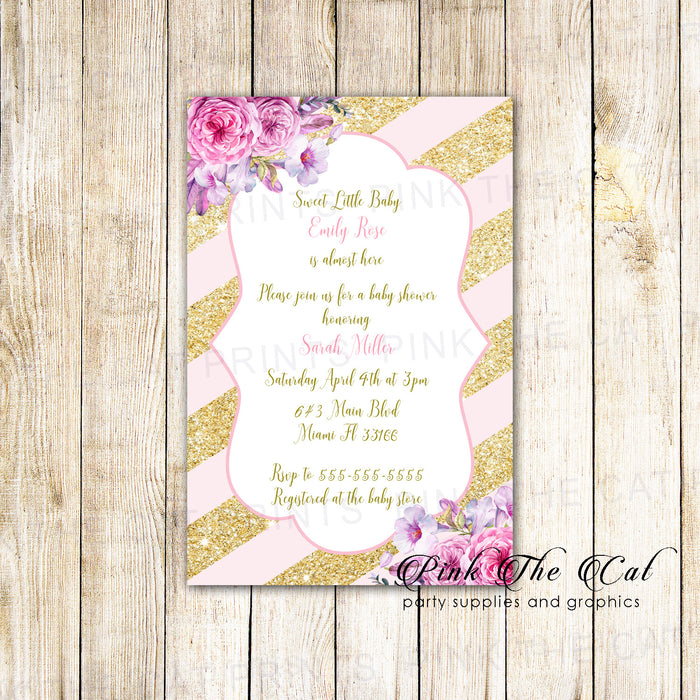 30 Invitations blush pink gold glitter stripes floral baby shower