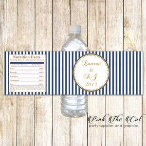 Navy Blue Gold Bridal Shower Wedding Bottle Labels