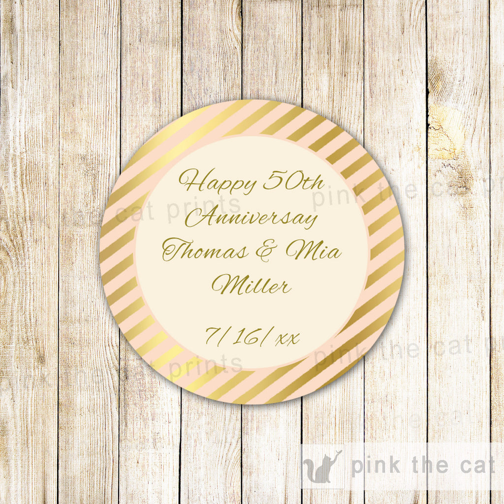 40 Stickers Favor Label Wedding Anniversary Bridal Shower Gold Peach