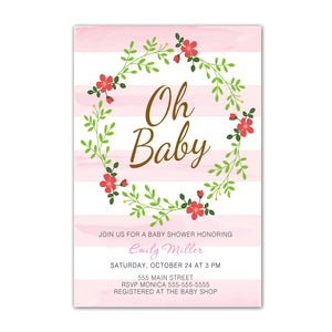 30 Oh baby invitations girl shower pink watercolor stripes floral & envelopes