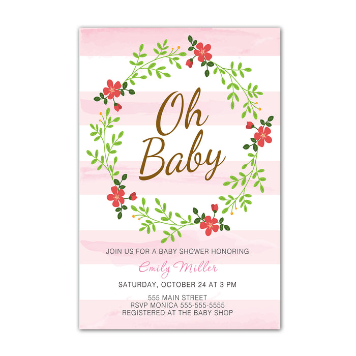 Oh baby striped invitations & envelopes (set of 30)