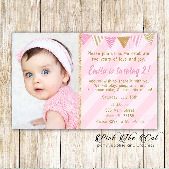 30 invitations glitter gold pink girl birthday photo card