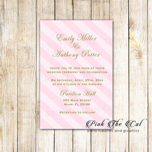 100 Wedding Invitations Blush Pink Gold Striped