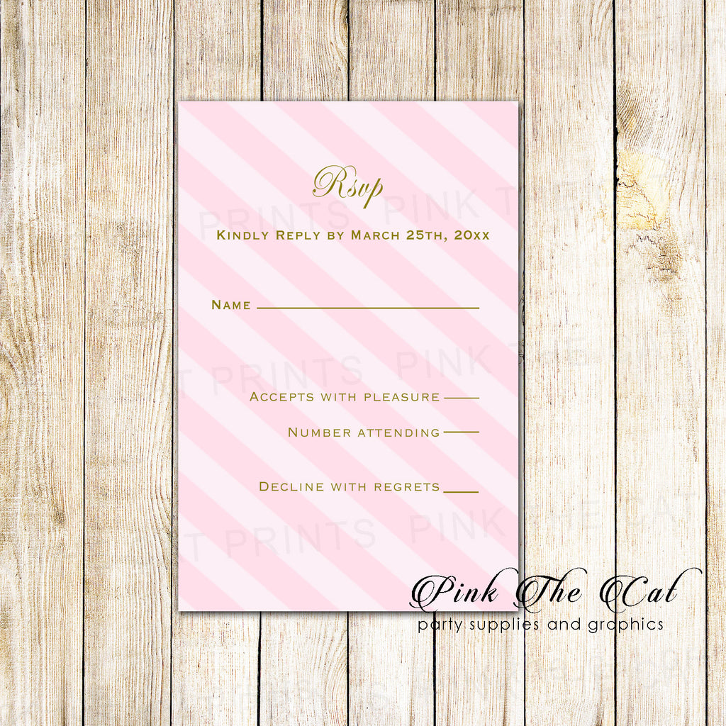 100 RSVP cards blush pink gold stripes wedding personalized