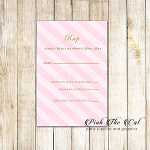 100 Gold Pink Striped Wedding Invitations & RSVP Cards