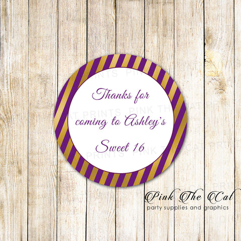 40 stickers birthday sweet 16 purple gold striped