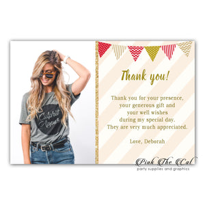 Gold red thank you card with photo adult birthday (set of 30)