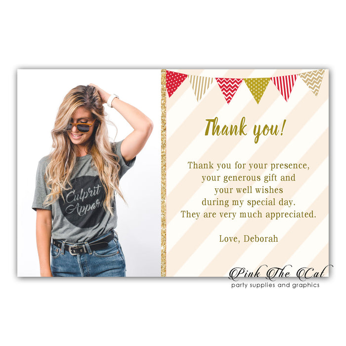 Gold red thank you card with photo (set of 30)