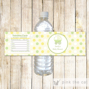 Bottle Labels Stroller Unisex Baby Shower Yellow
