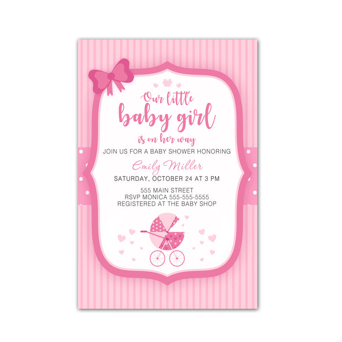 Stroller pink invitations & envelopes (set of 30)