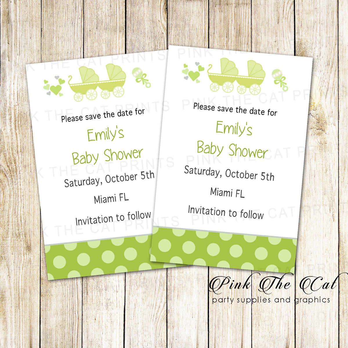 30 Cards Stroller Baby Shower Save The Date Green Pink The Cat