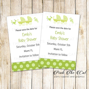 30 Cards Stroller Baby Shower Save The Date Green Twins Unisex