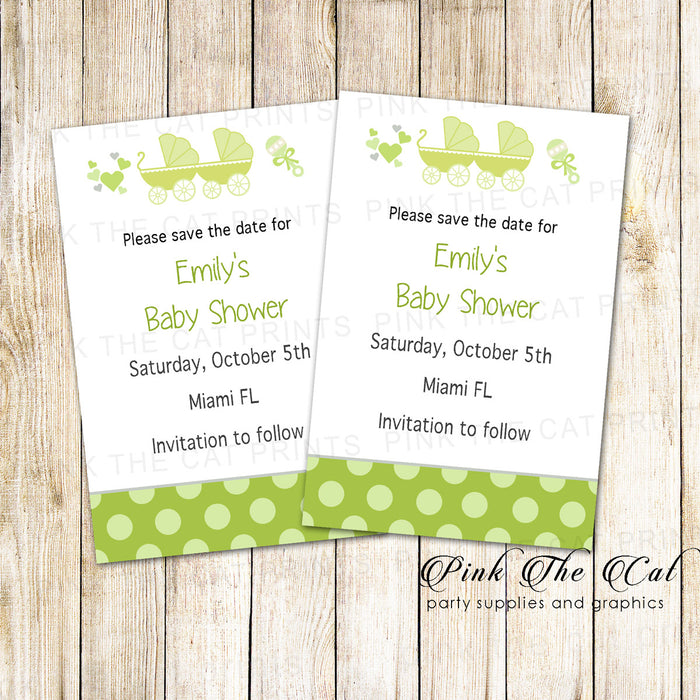 30 Cards Stroller Baby Shower Save The Date Green