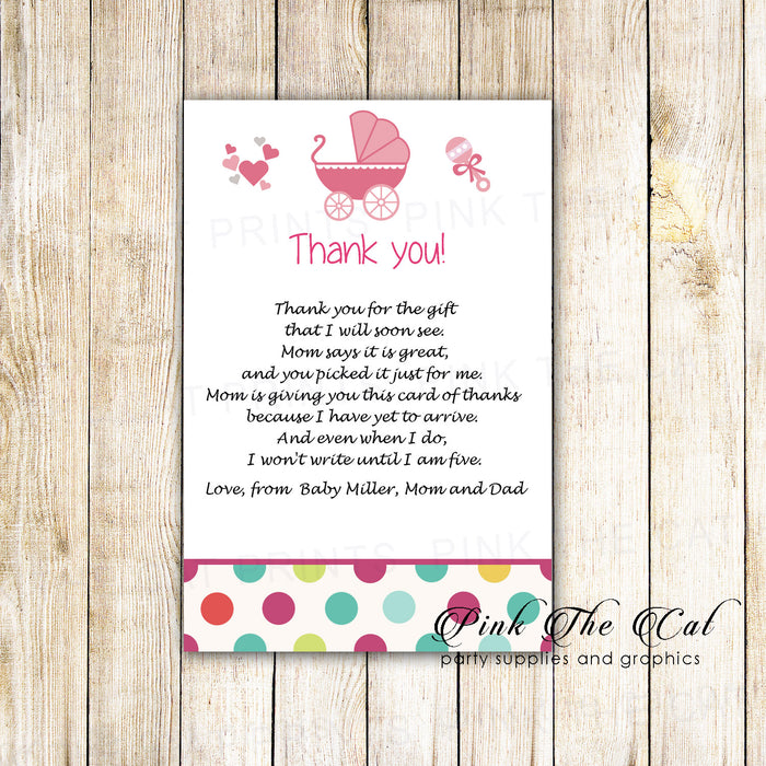 30 thank you cards pink teal stroller girl baby shower