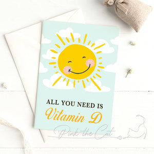 Sun and vitamin D health greeting card printable template