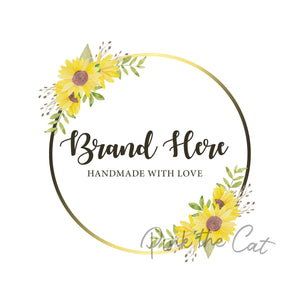 Premade sunflower round logo design