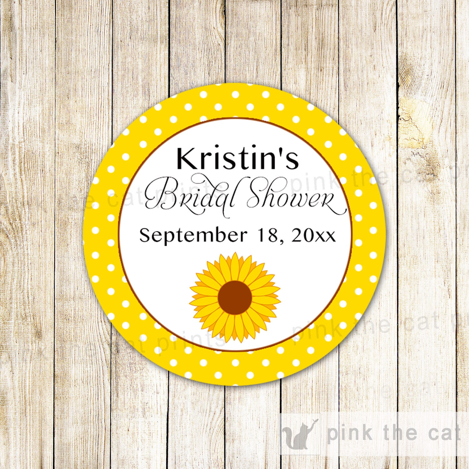 40 Stickers Favor Label Birthday Baby Shower Sunflower – Pink The Cat