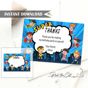 Kids superhero thank you card birthday baby shower editable template