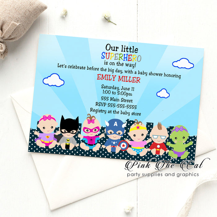 Girl baby superhero invitations (set of 30)